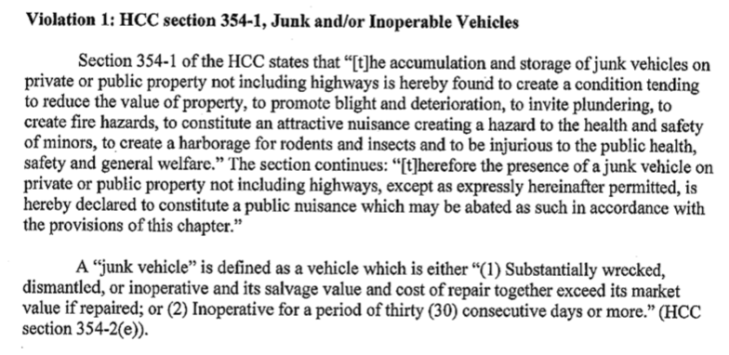 hcc junk vehicle definition